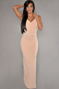 Pink Cut-Out Back Party-Ready Jersey Maxi Dress