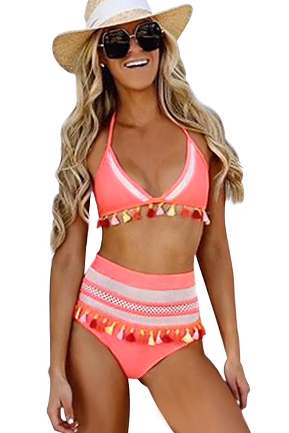 American Flag Mesh Insert Her Fashion Soft Swimwear High Waist Bikini