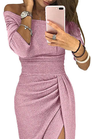 Pink Metallic Glitter Her Fashion Off Shoulder Formal Dress