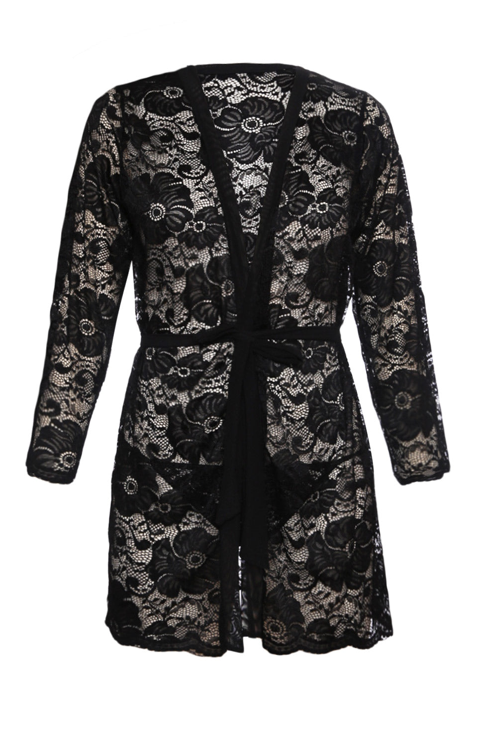 Playful and Elegant Her Fashion Black Luxurious Lace Robe