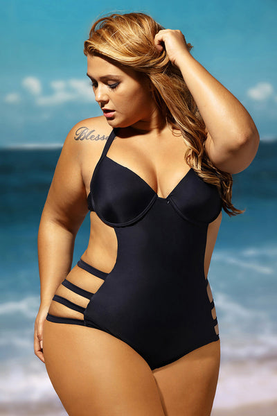 Plus Size Cut Out One Piece Big'n'Bold Swimsuit