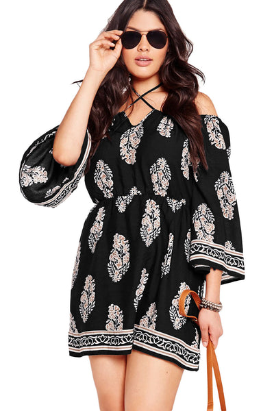 Plus Size Floral Print Criss Cross Black Off-shoulder Her Dress