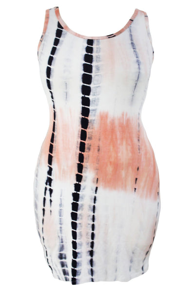 Plus Size Tie Dye Print Fitted Sleeveless Her Tank Dress