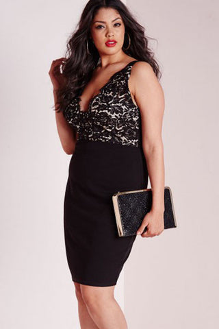 Plus Size Classic Style Lace Plunge Midi Her Black Dress