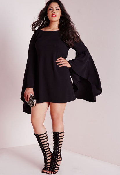 Plus Size Trendy Flared Sleeve Swing Her Dress