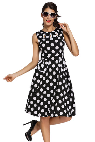 Smart Polka Dot Print Keyholes Vintage Black Women Dress