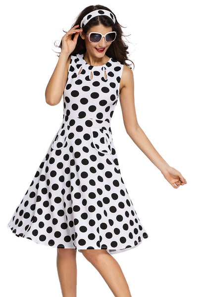 Smart Polka Dot Print Keyholes Vintage Plus Size White Women Dress