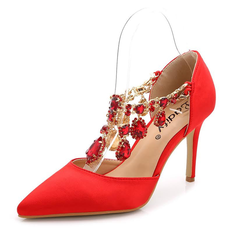 Pointed Toe Style Buckle Rhinestone Red Women Shoes