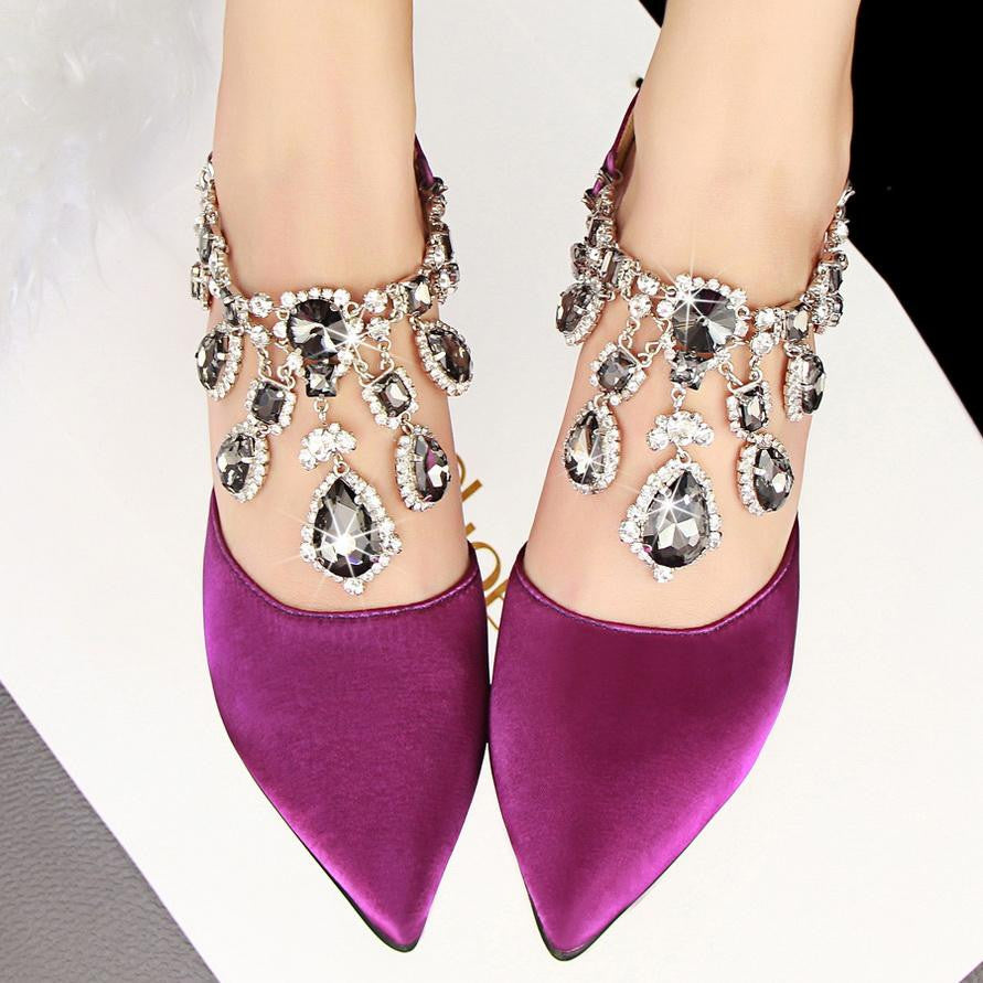 Pointed Toe Style Buckle Rhinestone Purple Women Shoes