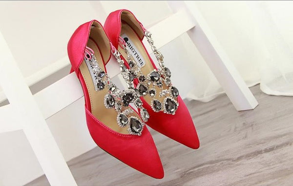 Pointed Toe Style Buckle Rhinestone Women Shoes