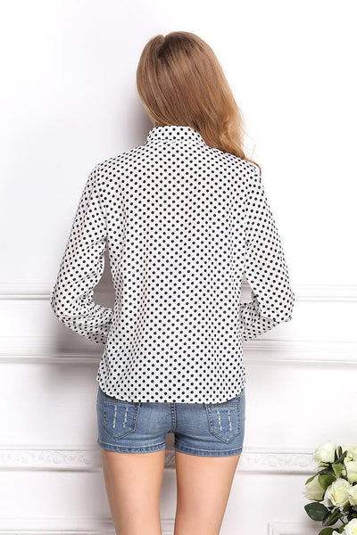 """Trendy Series""Polka Dots Chiffon Shirt with Long Sleeve and Collar for all occasion Shirt (White)"