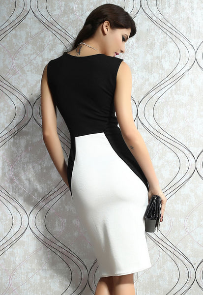 Princess Seam HerFashion White Contrast Bodycon Dress