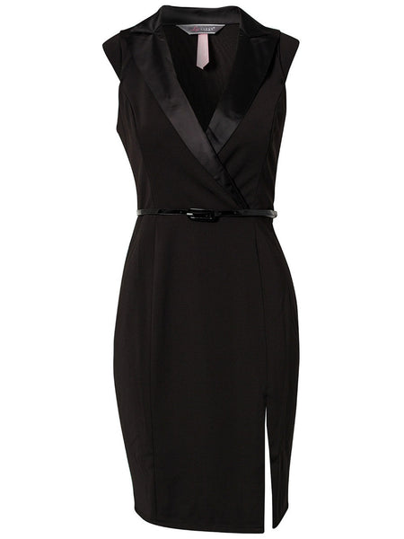 Professional Lady Tailored Black Dress with Belt