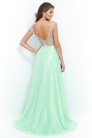 Prom Dresses V Neck Beads Crystals Mint Chiffon Backless HerFashion