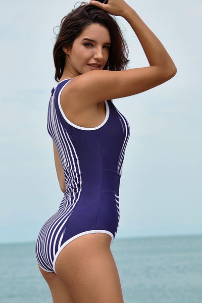 Pullover Style Her Fashion White Striped Blue Women Maillot Swimsuit