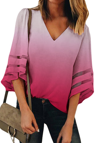 Pullover Style Red Ombre Her Fashion Bell Sleeve V Neck Relax Blouse