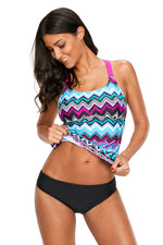 Green Yellow Zigzag Print Y Back Her Active Lifestyle Tankini Top