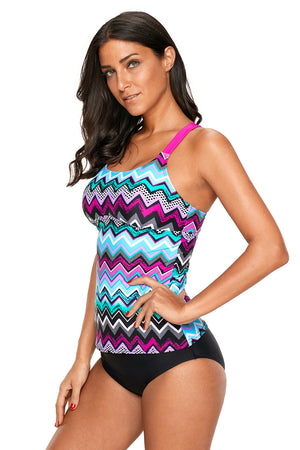 Coral Blue Zigzag Print Y Back Her Active Lifestyle Tankini Top