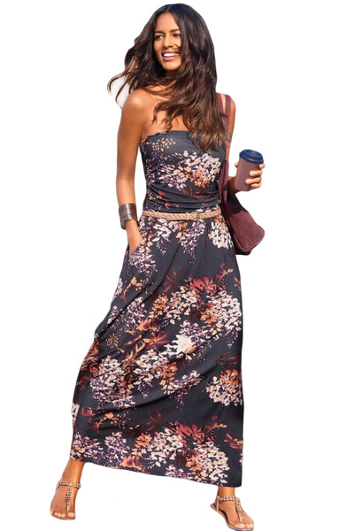 Red Bohemian Bandeau Floral Print Her Fashion Strapless Maxi Dress