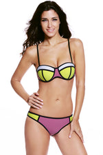 Purple Bright Color Block Chic Bikini Swimsuit
