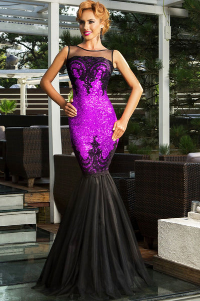 Purple Sequin Applique Multi-Layer Tulle Sweeping Floor Skirt Her Evening Mermaid Dress