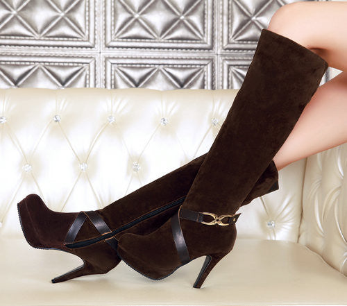 Round Toe Thin High Heels Side Zipper Solid Boots Chic Series