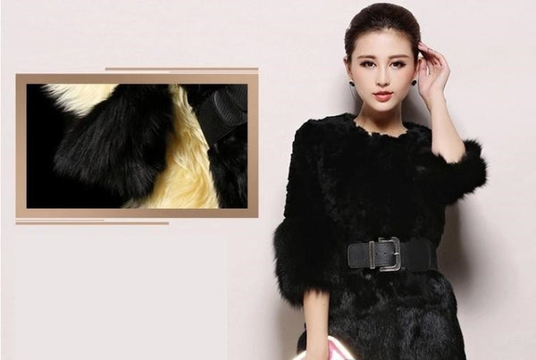Black Rabbit Hair Fur Coat Long Winter Women Outerwear Overcoat Jacket