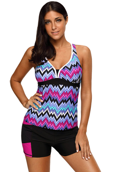 Her Swimsuit Green Tone Multicolor Two Pieces Racerback Tankini Set