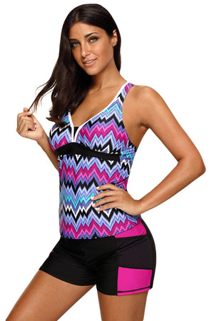 Her Swimsuit Blue Tone Multicolor Two Pieces Racerback Tankini Set