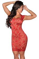 Alluring Illusion Look Lace Short Sleeves Women Red Dress
