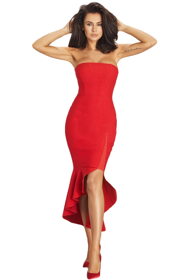 Red Asymmetric Ruffle Hem Strapless Her Fashion Stunning Party Dress
