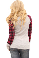 Her Fashion Red Black Plaid Sleeve Light Grey Top