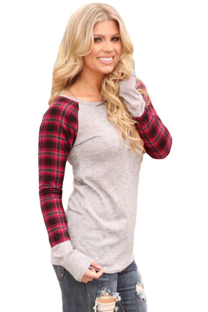Her Fashion Red Black Plaid Sleeve Cream Top