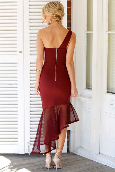 Burgundy Asymmetrical Fishtail Semi-Sheer Hem Her Maxi Dress