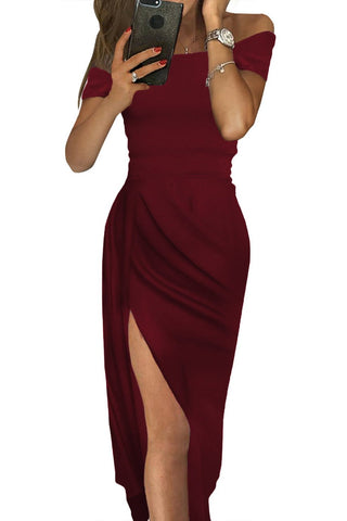 Burgundy Off Shoulder Her Fashion Short Sleeve Party Dress