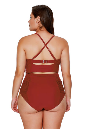 American Flag Strappy Neck Detail High Waist Her Fashion Swimsuit