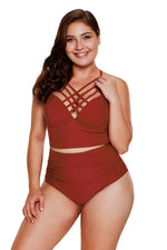 Red Strappy Neck Detail High Waist Her Fashion Swimsuit