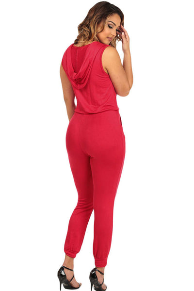 Red Cuffed Sweatpants With CutOut Slits Hooded Jumpsuit