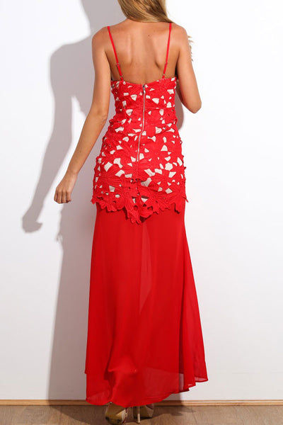Red Floral Applique Maxi Dress