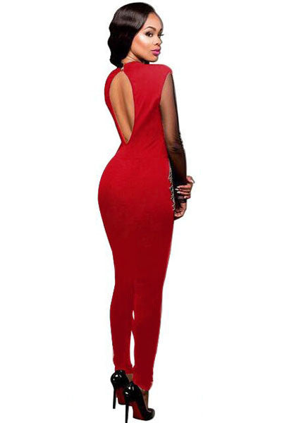 Blue / Red Glittering Studs Pattern Her Mesh Insert Fashion Jumpsuit