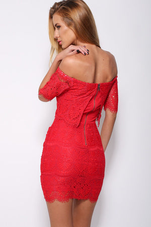 Red Lace Surcoat Off-shoulder Mini Dress