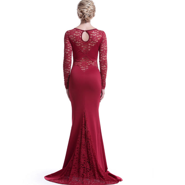 Red Long Lace Sleeve Mermaid Princess Prom Dress