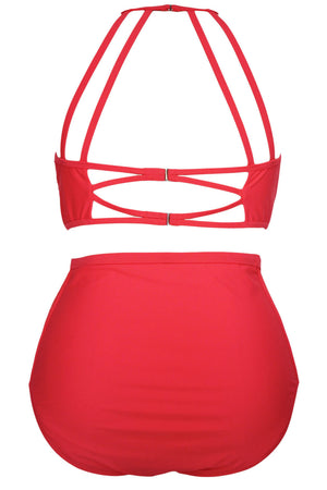 Red Patterned Mesh Big'n'Bold Plus Size Swimwear