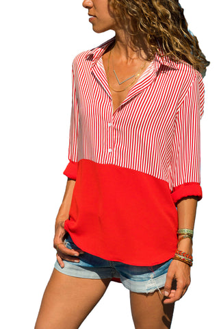 Red Pinstripe Color Block Relaxed Tailored Silhouette Shirt