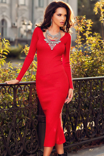 Red Ribbed Bodycon Long Sleeve Back Midi Dress Sweater Dress