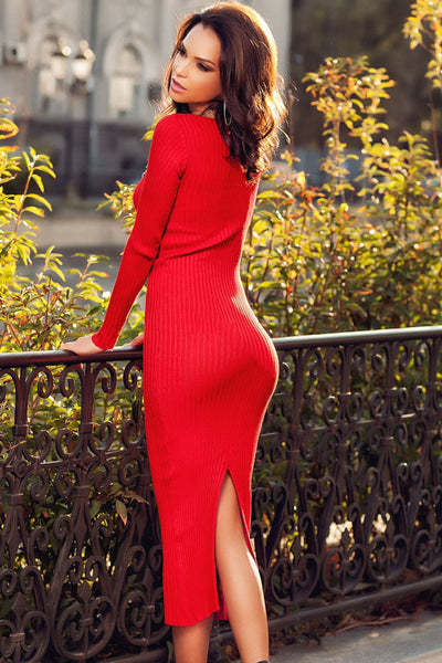 a8e0f2e0961b Red Ribbed Bodycon Long Sleeve Sweater Midi Dress – HisandHerFashion.com