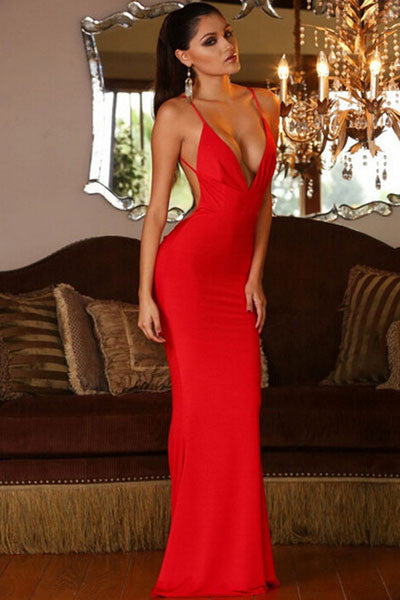 Red Sleeveless Evening Gown Deep V Neck Hollow Out  Mermaid Backless Dress