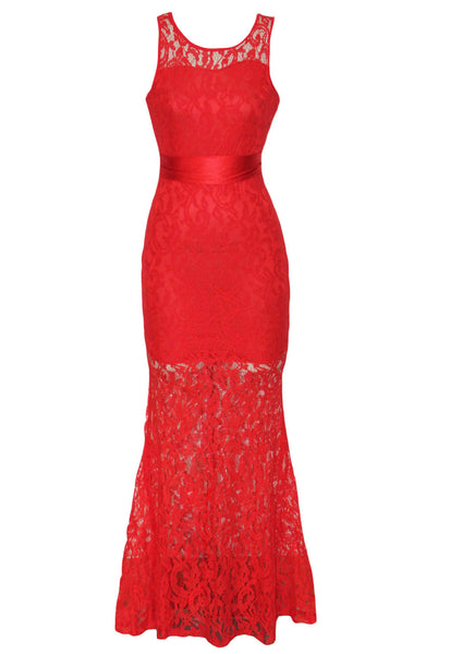 Red Trendy Floral Lace Satin Patchwork Party Maxi Dress