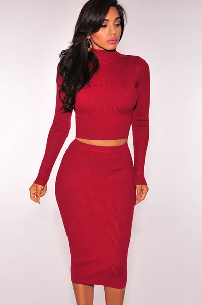 Red Turtleneck Sweater In A Seductive Two Piece Dress