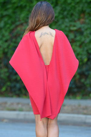 Red Winged Backless Mini Dress